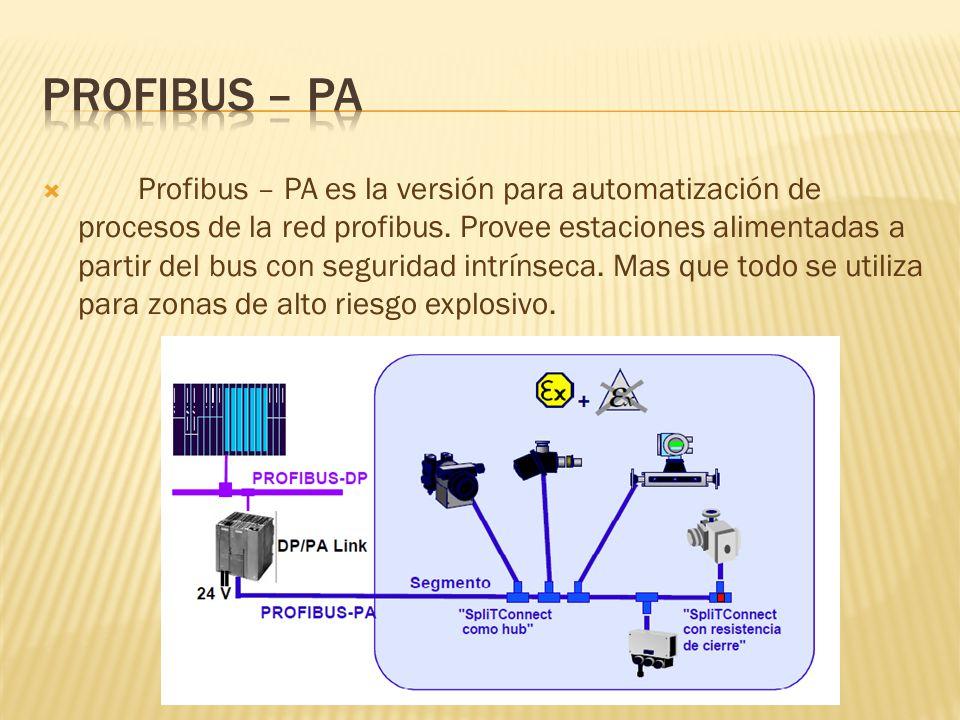 Profibus – PA es la versión para automatización de procesos de la red profibus.