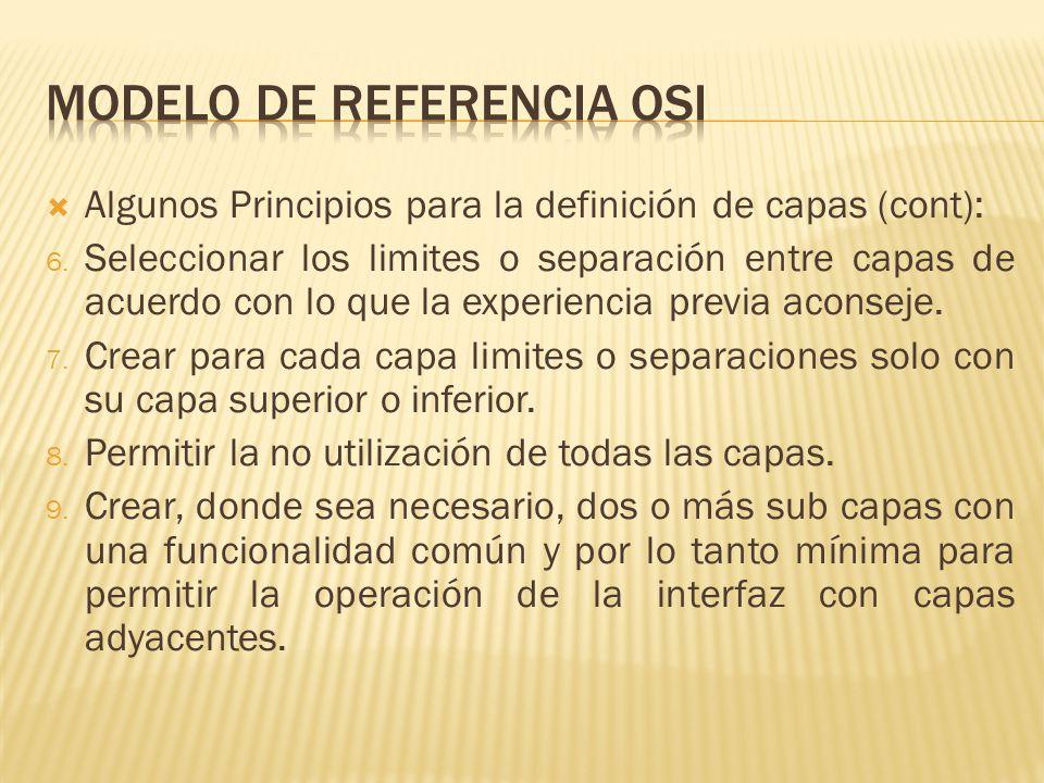 Algunos Principios para la definición de capas (cont): 6.
