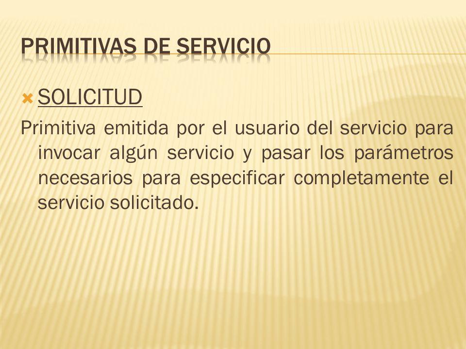 SOLICITUD Primitiva emitida por el usuario del servicio para invocar algún servicio y pasar los parámetros necesarios para especificar completamente el servicio solicitado.