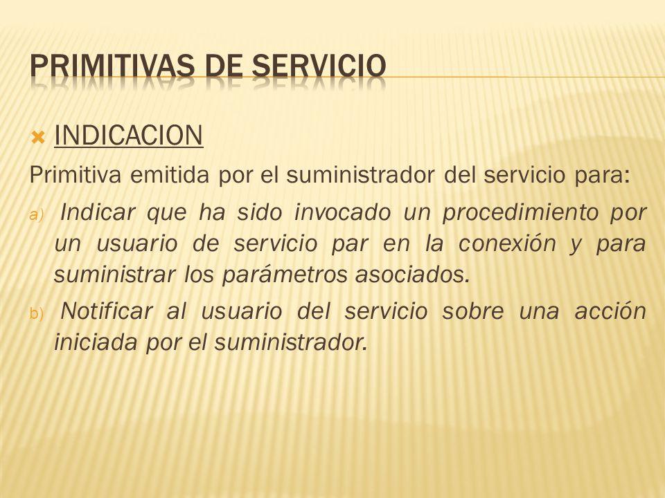 INDICACION Primitiva emitida por el suministrador del servicio para: a) Indicar que ha sido invocado un procedimiento por un usuario de servicio par en la conexión y para suministrar los parámetros asociados.