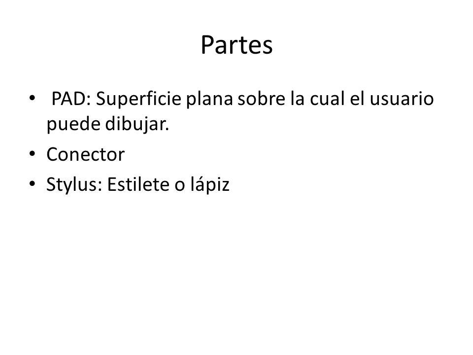 Partes PAD: Superficie plana sobre la cual el usuario puede dibujar. Conector Stylus: Estilete o lápiz