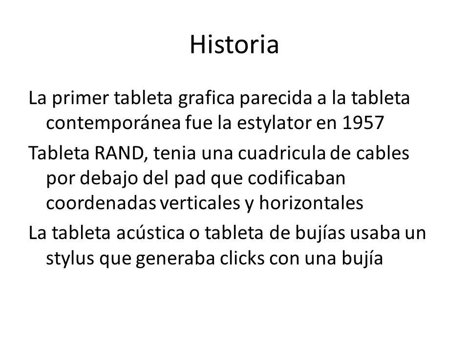 Historia La primer tableta grafica parecida a la tableta contemporánea fue la estylator en 1957 Tableta RAND, tenia una cuadricula de cables por debaj