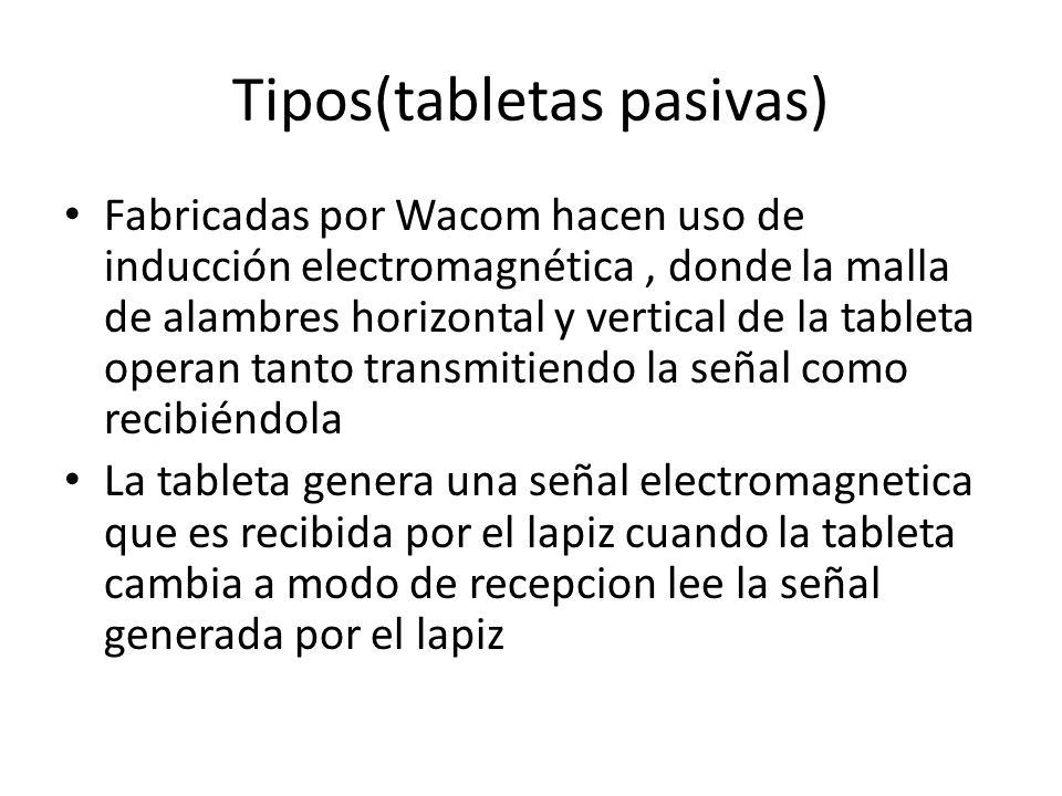 Tipos(tabletas pasivas) Fabricadas por Wacom hacen uso de inducción electromagnética, donde la malla de alambres horizontal y vertical de la tableta o