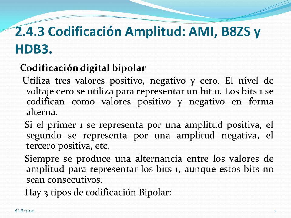 2.4.3 Codificación Amplitud: AMI, B8ZS y HDB3. Codificación digital bipolar Utiliza tres valores positivo, negativo y cero. El nivel de voltaje cero s