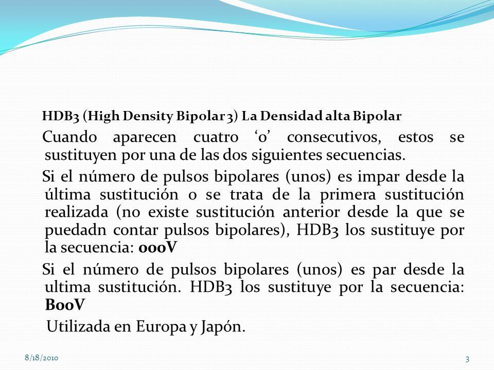 HDB3 (High Density Bipolar 3) La Densidad alta Bipolar Cuando aparecen cuatro 0 consecutivos, estos se sustituyen por una de las dos siguientes secuen