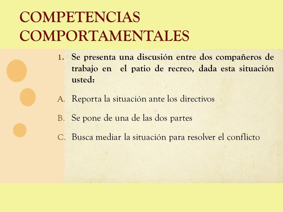 COMPETENCIAS COMPORTAMENTALES 1. Se presenta una discusión entre dos compañeros de trabajo en el patio de recreo, dada esta situación usted: A. Report