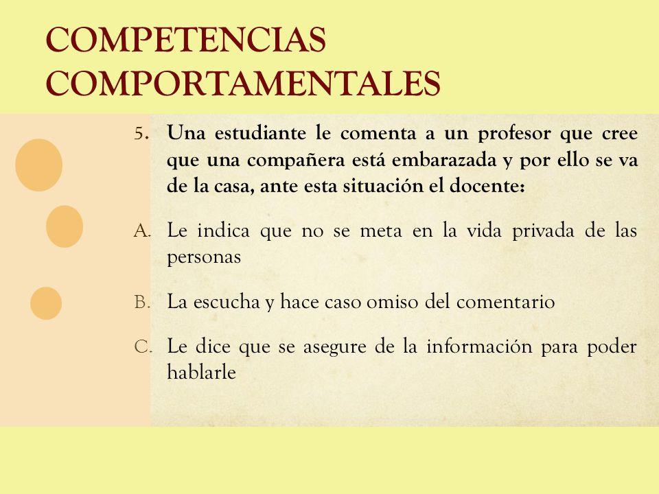 COMPETENCIAS COMPORTAMENTALES 5. Una estudiante le comenta a un profesor que cree que una compañera está embarazada y por ello se va de la casa, ante