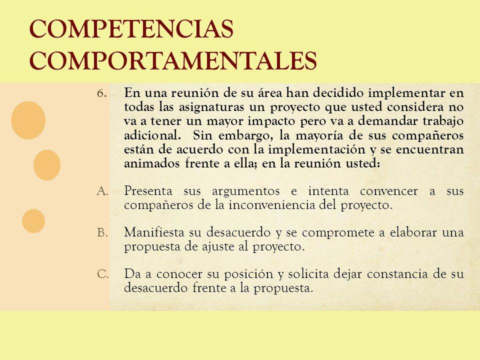 COMPETENCIAS COMPORTAMENTALES 6. En una reunión de su área han decidido implementar en todas las asignaturas un proyecto que usted considera no va a t