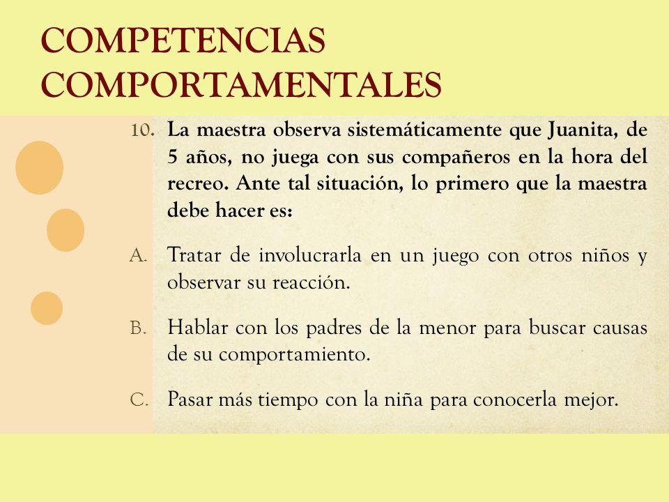 COMPETENCIAS COMPORTAMENTALES 10. La maestra observa sistemáticamente que Juanita, de 5 años, no juega con sus compañeros en la hora del recreo. Ante