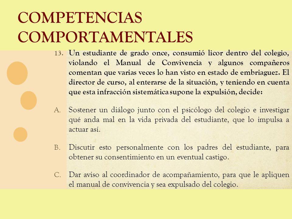 COMPETENCIAS COMPORTAMENTALES 13. Un estudiante de grado once, consumió licor dentro del colegio, violando el Manual de Convivencia y algunos compañer