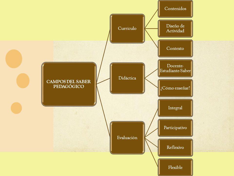 CAMPOS DEL SABER PEDAGÓGICO Currículo Contenidos Diseño de Actividad Contexto Didáctica Docente- Estudiante-Saber ¿Cómo enseñar? Evaluación IntegralPa