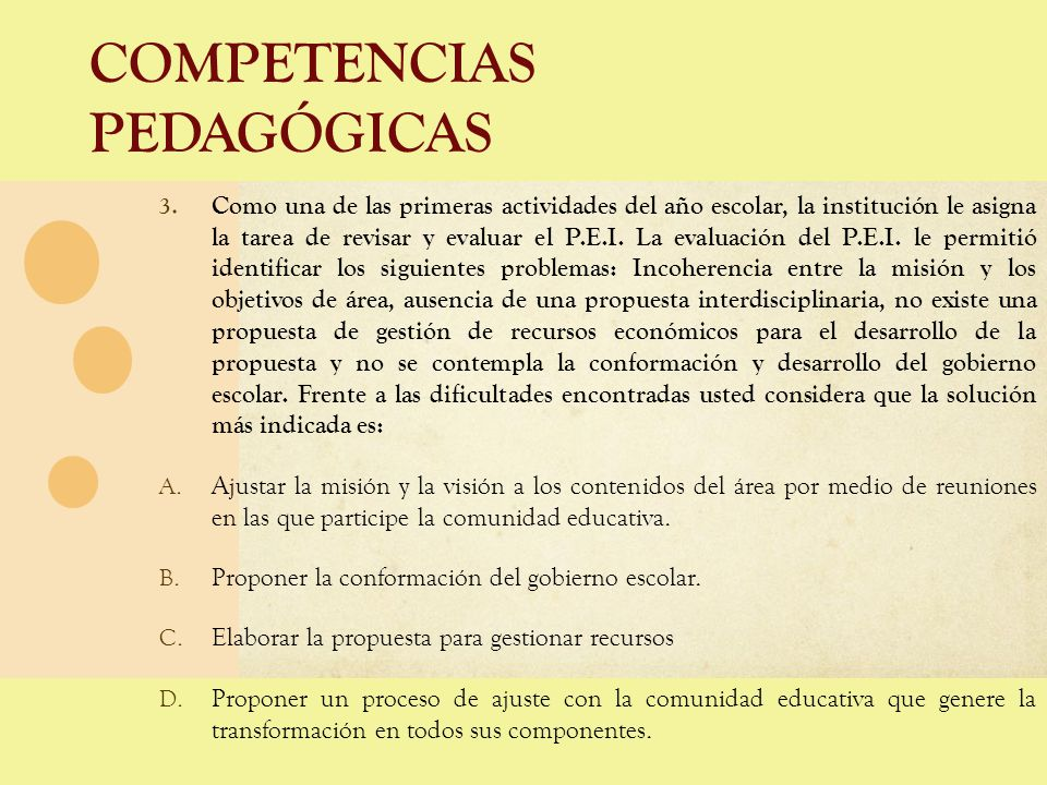 COMPETENCIAS PEDAGÓGICAS 3. Como una de las primeras actividades del año escolar, la institución le asigna la tarea de revisar y evaluar el P.E.I. La