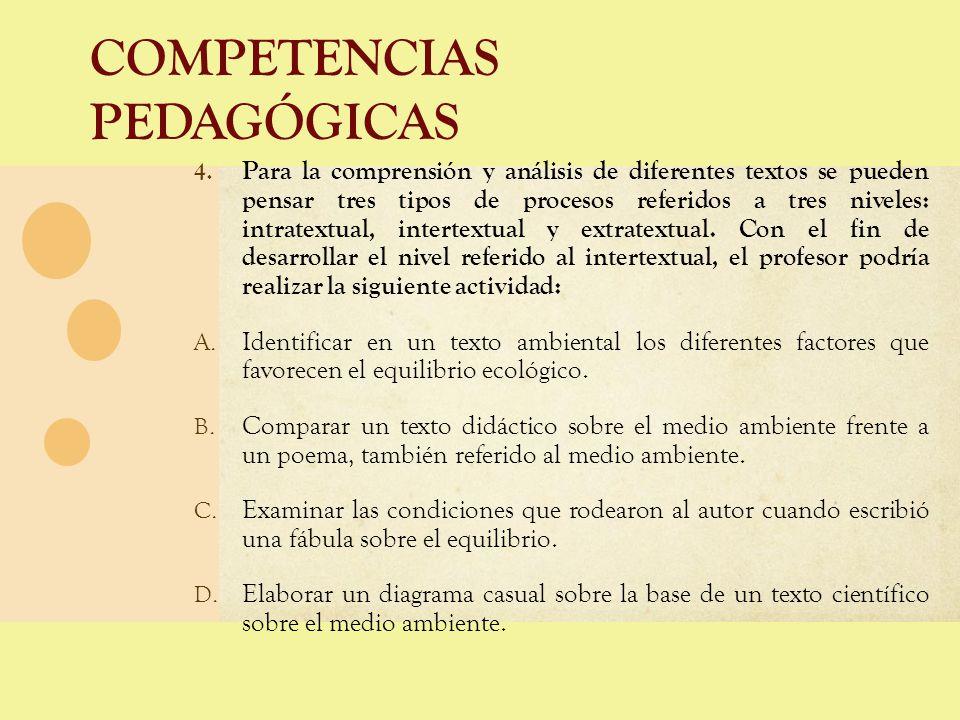 COMPETENCIAS PEDAGÓGICAS 4. Para la comprensión y análisis de diferentes textos se pueden pensar tres tipos de procesos referidos a tres niveles: intr