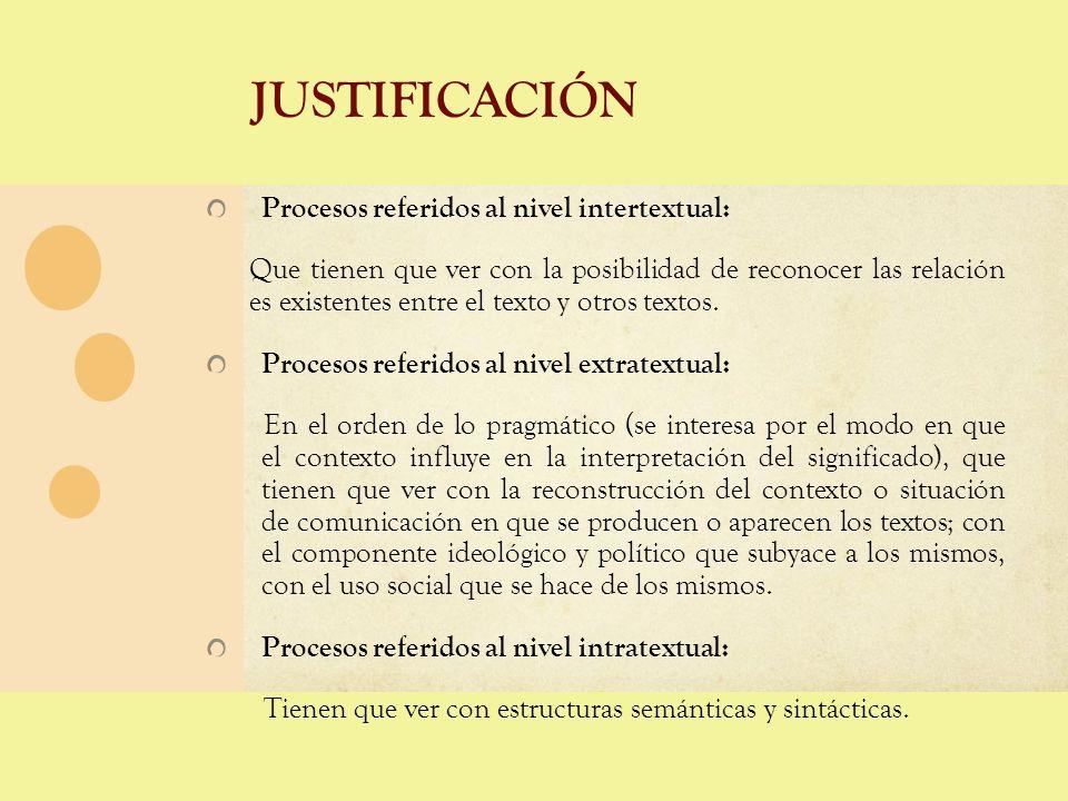 JUSTIFICACIÓN Procesos referidos al nivel intertextual: Que tienen que ver con la posibilidad de reconocer las relación es existentes entre el texto y