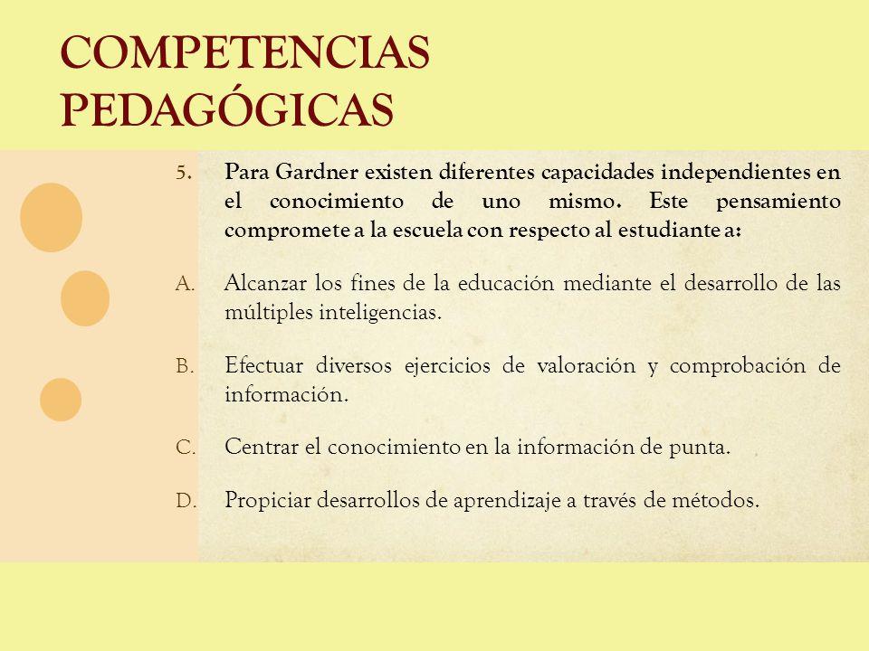 COMPETENCIAS PEDAGÓGICAS 5. Para Gardner existen diferentes capacidades independientes en el conocimiento de uno mismo. Este pensamiento compromete a