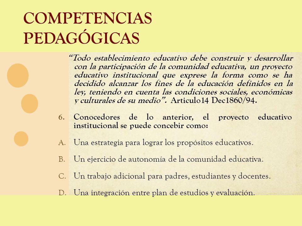 COMPETENCIAS PEDAGÓGICAS Todo establecimiento educativo debe construir y desarrollar con la participación de la comunidad educativa, un proyecto educa