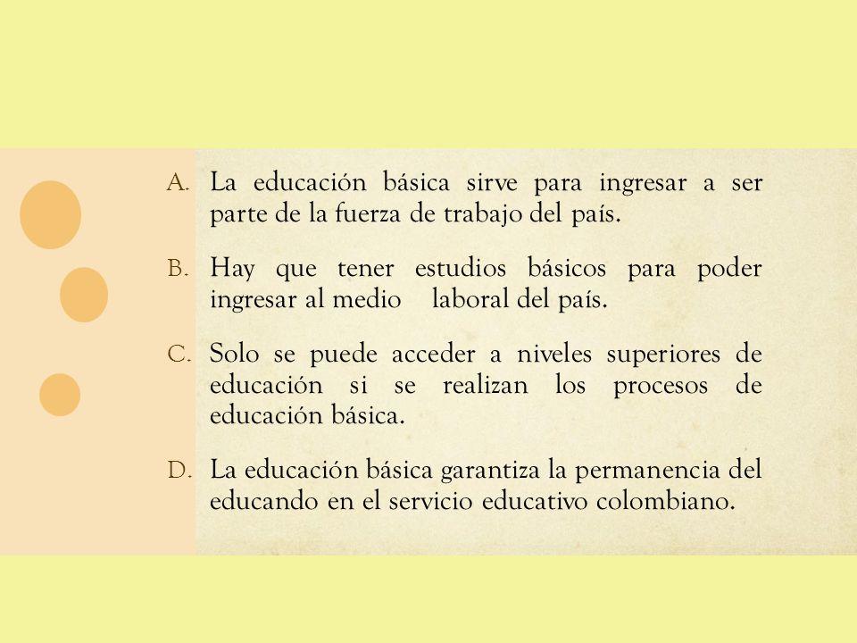 A. La educación básica sirve para ingresar a ser parte de la fuerza de trabajo del país. B. Hay que tener estudios básicos para poder ingresar al medi