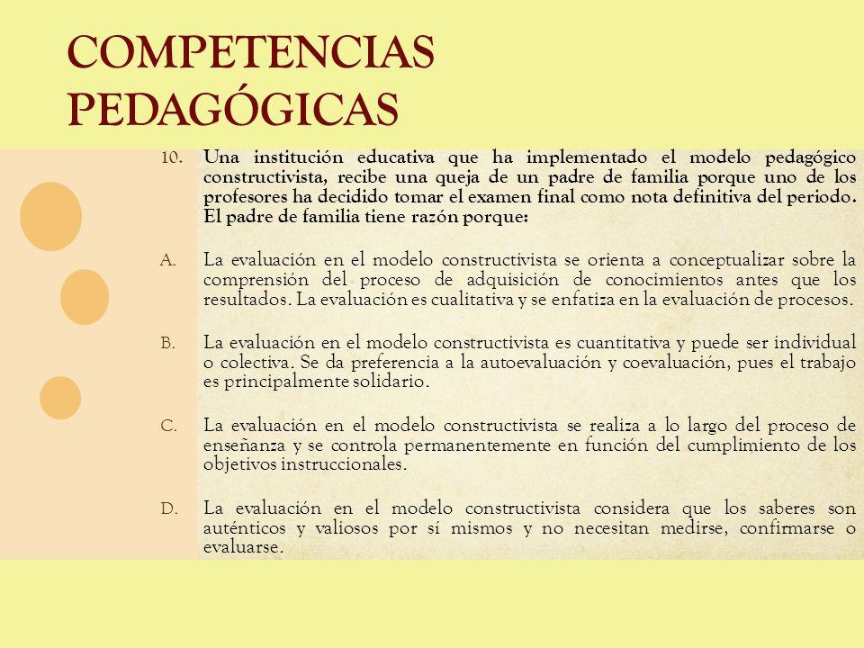 COMPETENCIAS PEDAGÓGICAS 10. Una institución educativa que ha implementado el modelo pedagógico constructivista, recibe una queja de un padre de famil