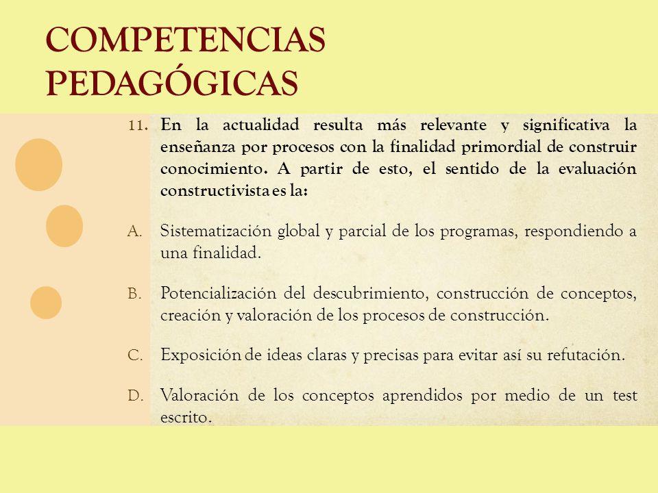 COMPETENCIAS PEDAGÓGICAS 11. En la actualidad resulta más relevante y significativa la enseñanza por procesos con la finalidad primordial de construir