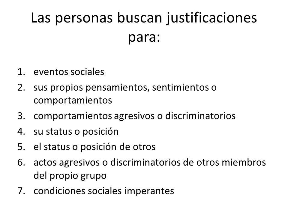 Las personas buscan justificaciones para: 1.eventos sociales 2.sus propios pensamientos, sentimientos o comportamientos 3.comportamientos agresivos o
