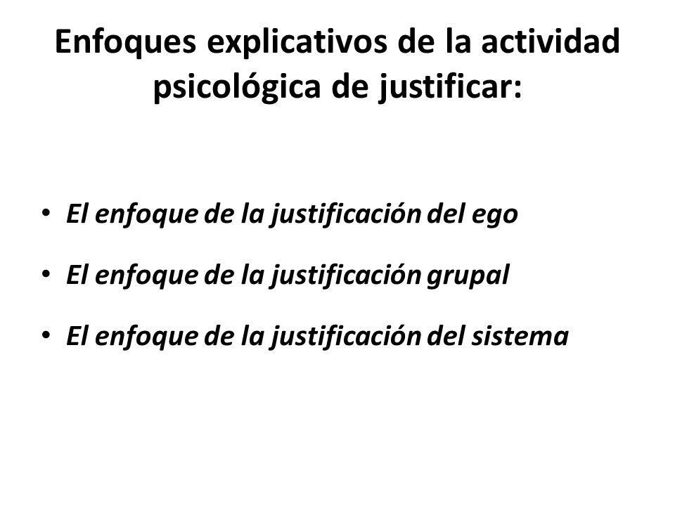 Enfoques explicativos de la actividad psicológica de justificar: El enfoque de la justificación del ego El enfoque de la justificación grupal El enfoque de la justificación del sistema