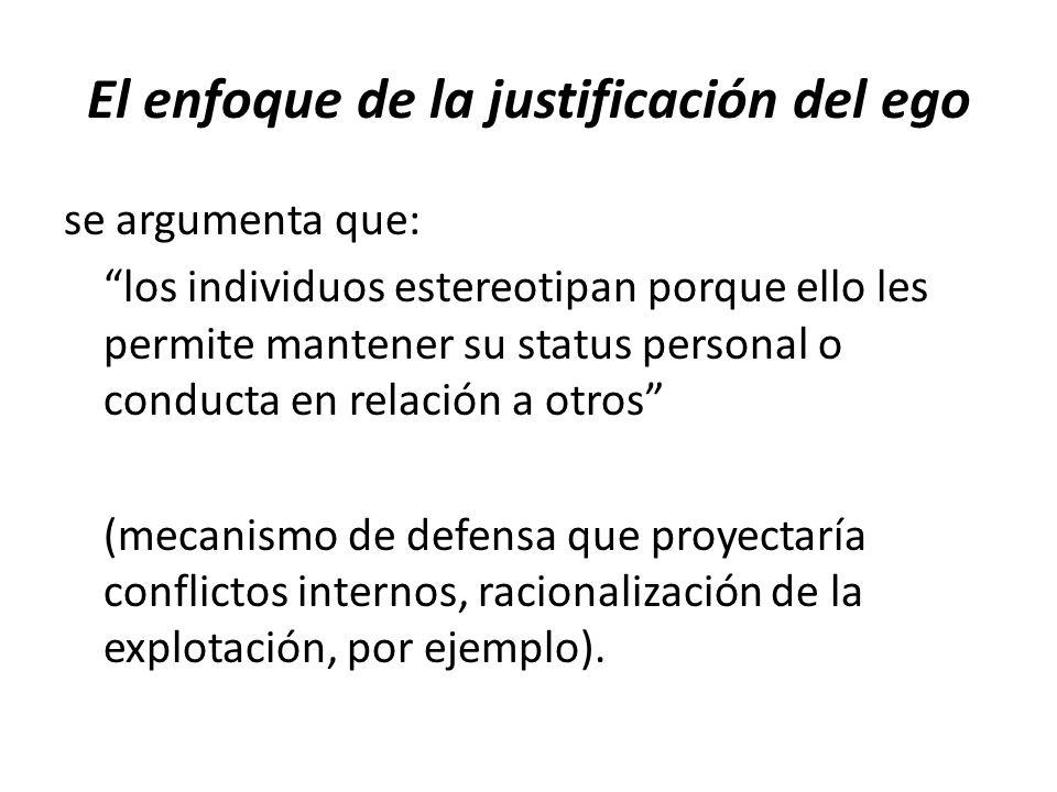 El enfoque de la justificación del ego se argumenta que: los individuos estereotipan porque ello les permite mantener su status personal o conducta en relación a otros (mecanismo de defensa que proyectaría conflictos internos, racionalización de la explotación, por ejemplo).