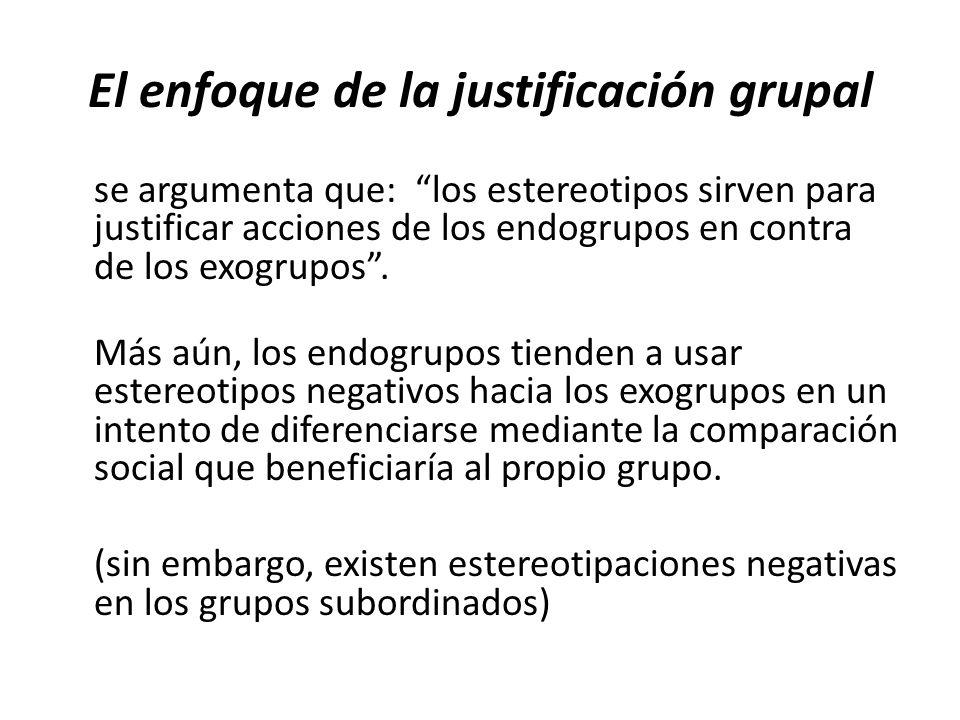 El enfoque de la justificación grupal se argumenta que: los estereotipos sirven para justificar acciones de los endogrupos en contra de los exogrupos.