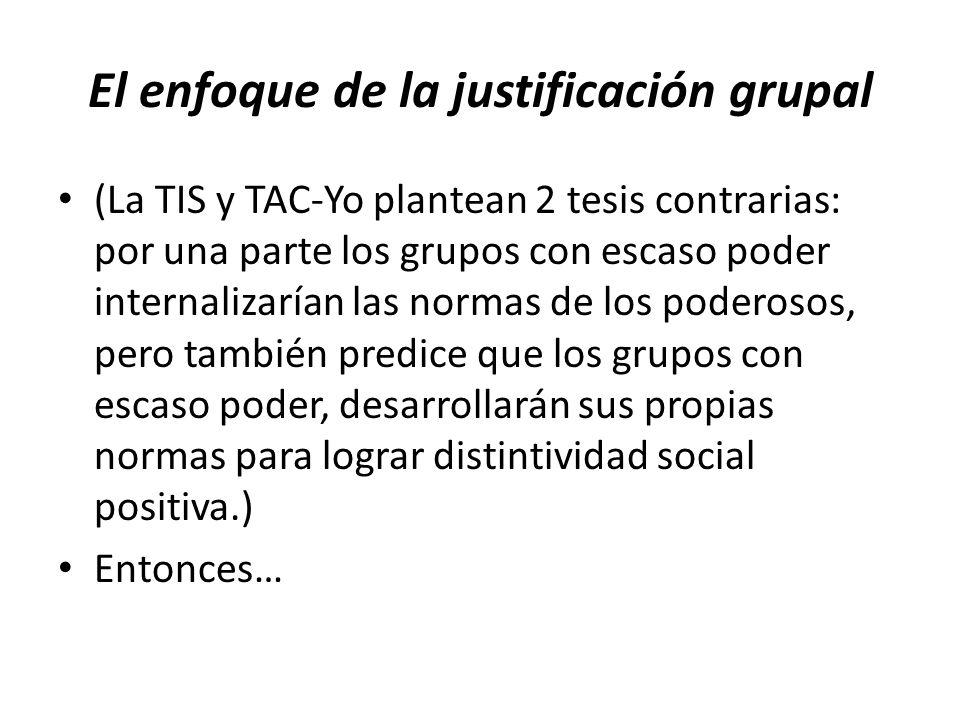 El enfoque de la justificación grupal (La TIS y TAC-Yo plantean 2 tesis contrarias: por una parte los grupos con escaso poder internalizarían las normas de los poderosos, pero también predice que los grupos con escaso poder, desarrollarán sus propias normas para lograr distintividad social positiva.) Entonces…
