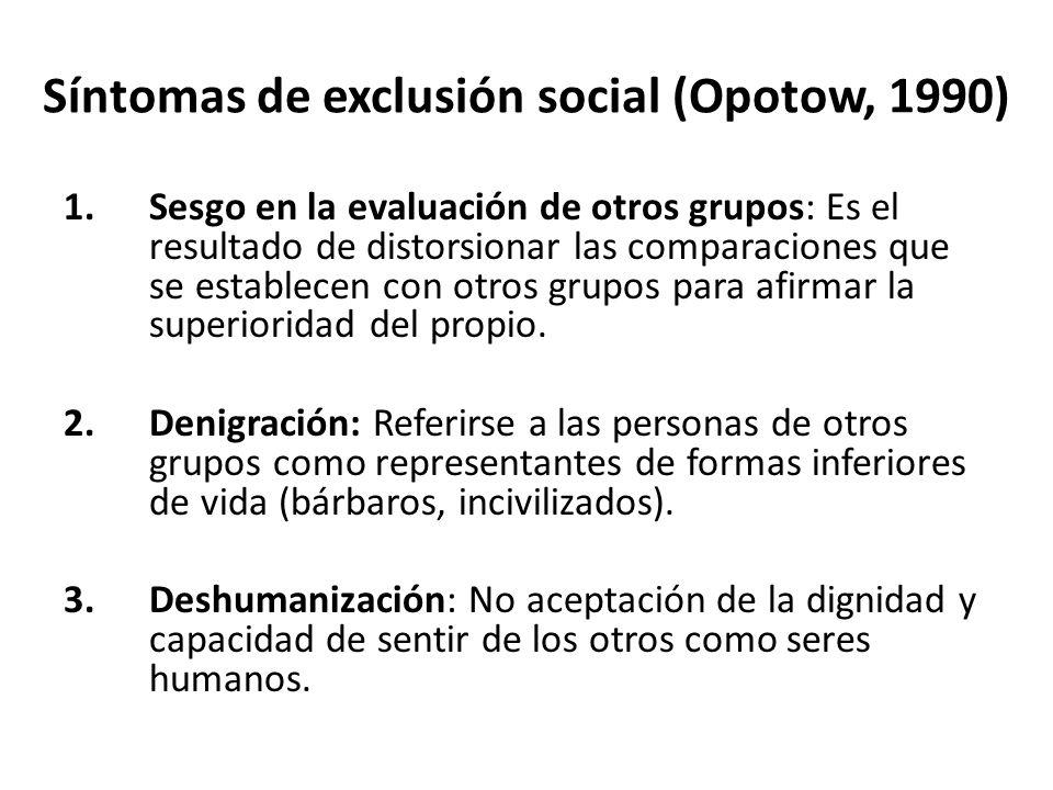 Síntomas de exclusión social (Opotow, 1990) 1.Sesgo en la evaluación de otros grupos: Es el resultado de distorsionar las comparaciones que se establecen con otros grupos para afirmar la superioridad del propio.
