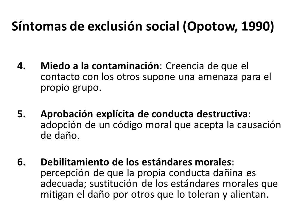 Síntomas de exclusión social (Opotow, 1990) 4.Miedo a la contaminación: Creencia de que el contacto con los otros supone una amenaza para el propio grupo.