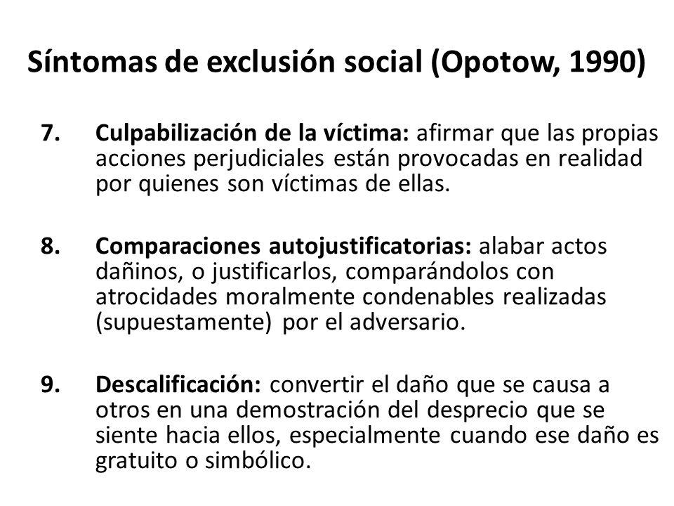 Síntomas de exclusión social (Opotow, 1990) 7.Culpabilización de la víctima: afirmar que las propias acciones perjudiciales están provocadas en realidad por quienes son víctimas de ellas.