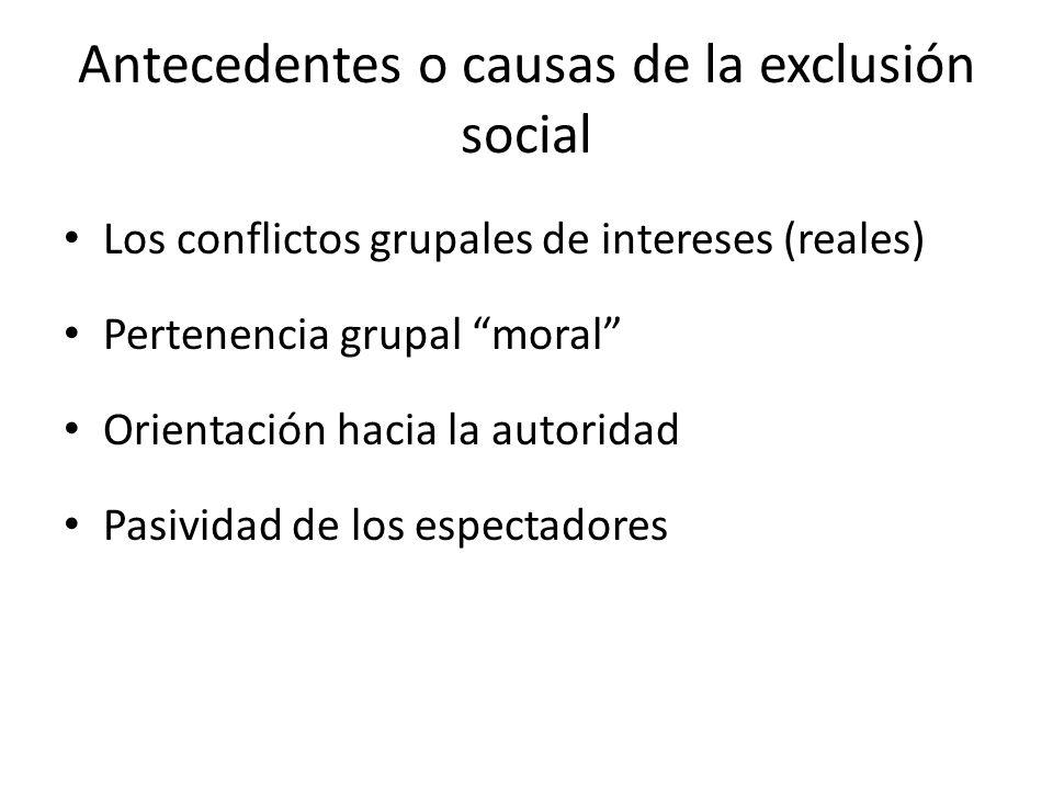 Antecedentes o causas de la exclusión social Los conflictos grupales de intereses (reales) Pertenencia grupal moral Orientación hacia la autoridad Pasividad de los espectadores