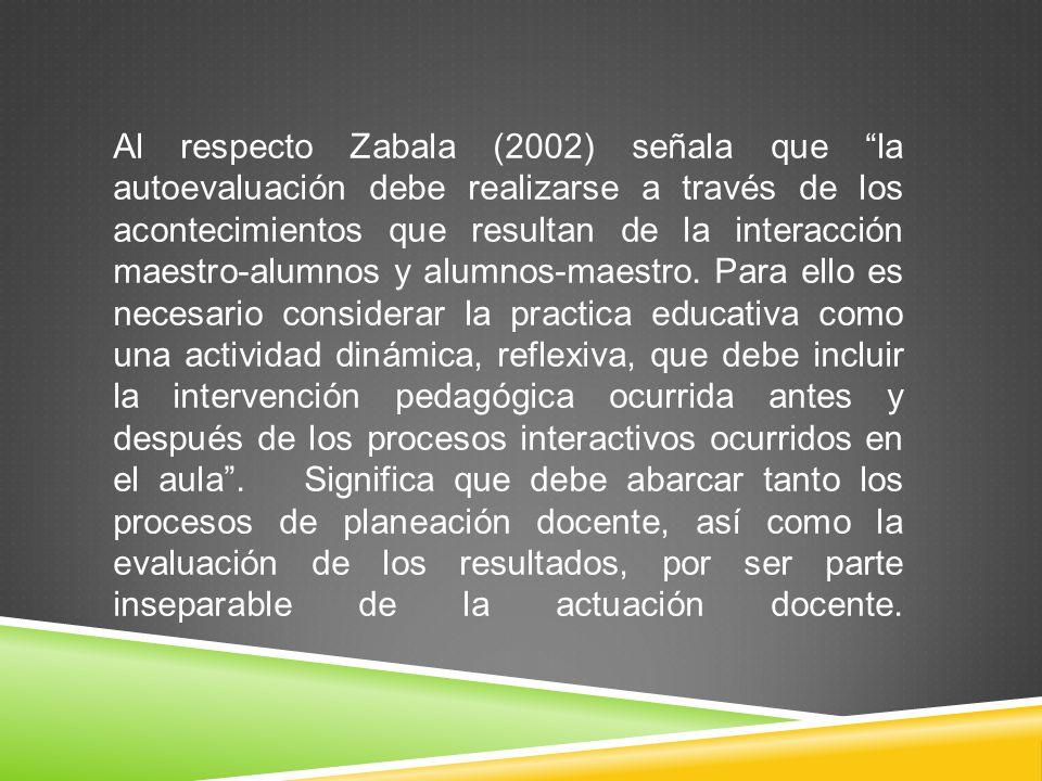 Al respecto Zabala (2002) señala que la autoevaluación debe realizarse a través de los acontecimientos que resultan de la interacción maestro-alumnos