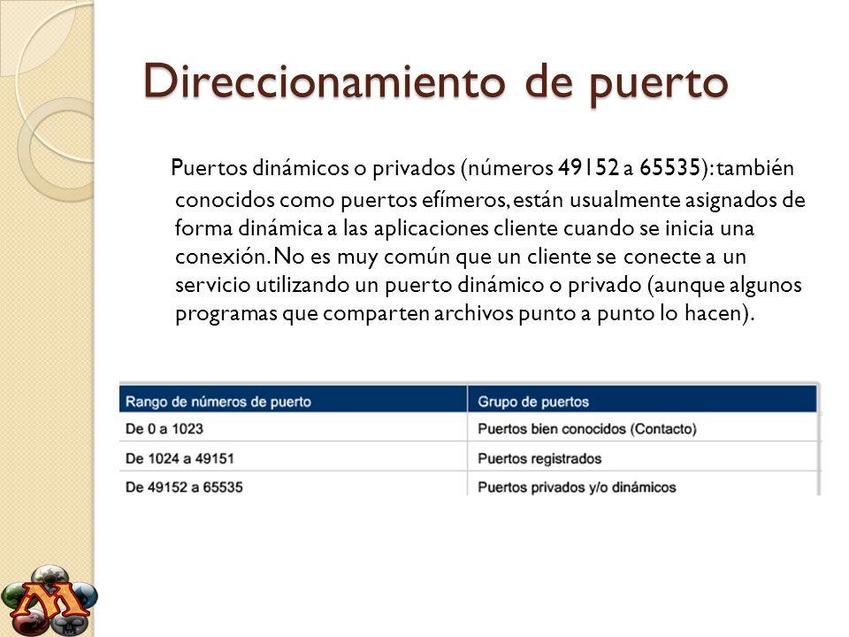 Direccionamiento de puerto Puertos dinámicos o privados (números 49152 a 65535): también conocidos como puertos efímeros, están usualmente asignados d