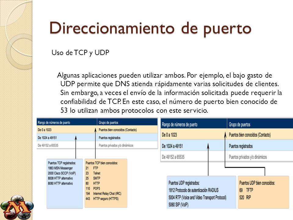 Direccionamiento de puerto Uso de TCP y UDP Algunas aplicaciones pueden utilizar ambos. Por ejemplo, el bajo gasto de UDP permite que DNS atienda rápi