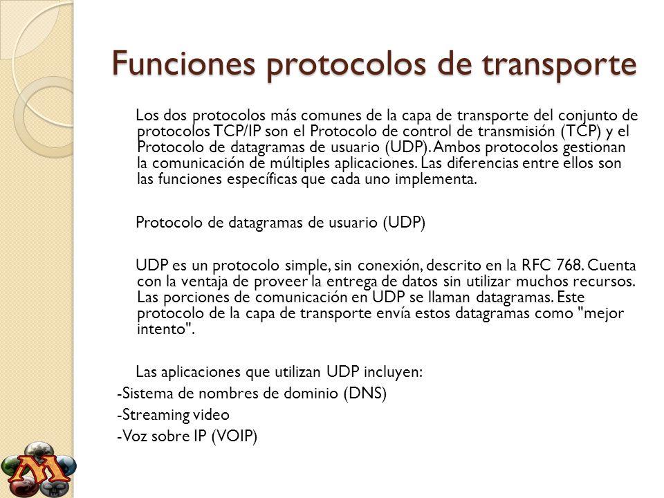 Funciones protocolos de transporte Los dos protocolos más comunes de la capa de transporte del conjunto de protocolos TCP/IP son el Protocolo de contr