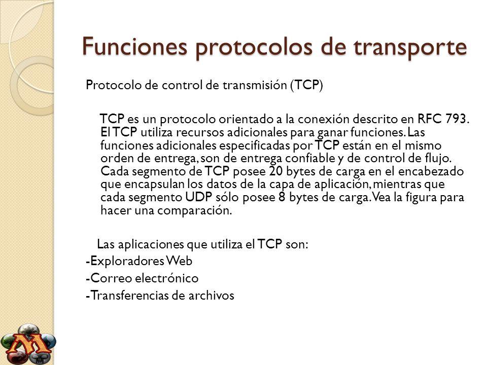 Funciones protocolos de transporte Protocolo de control de transmisión (TCP) TCP es un protocolo orientado a la conexión descrito en RFC 793. El TCP u