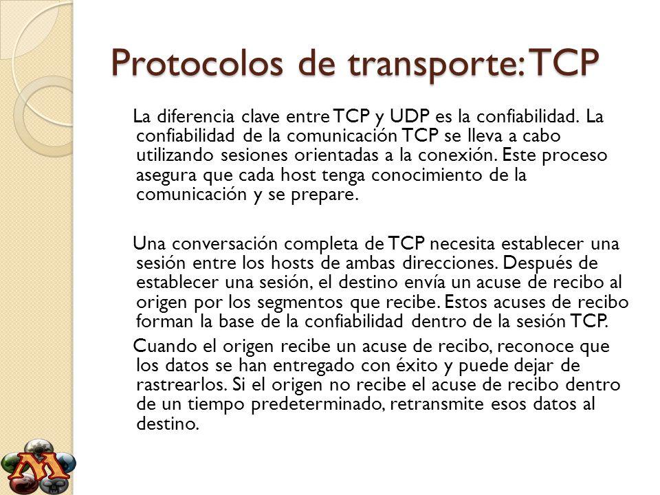 Protocolos de transporte: TCP La diferencia clave entre TCP y UDP es la confiabilidad. La confiabilidad de la comunicación TCP se lleva a cabo utiliza
