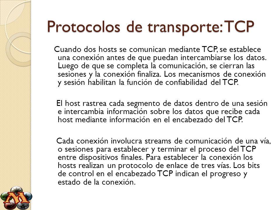 Protocolos de transporte: TCP Cuando dos hosts se comunican mediante TCP, se establece una conexión antes de que puedan intercambiarse los datos. Lueg