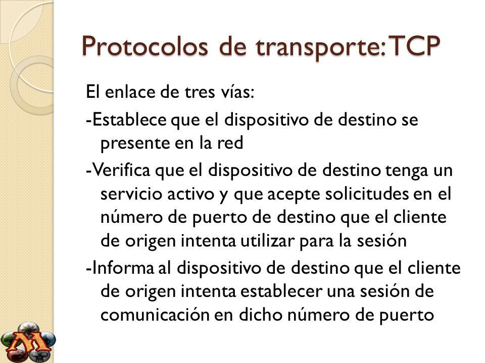 Protocolos de transporte: TCP El enlace de tres vías: -Establece que el dispositivo de destino se presente en la red -Verifica que el dispositivo de d