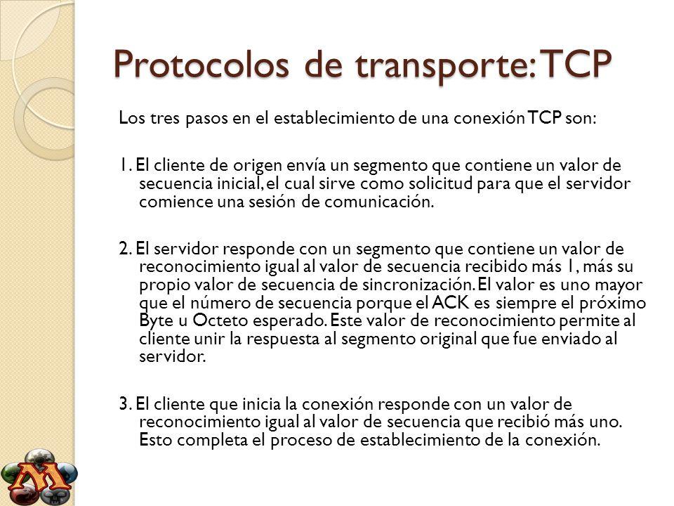 Protocolos de transporte: TCP Los tres pasos en el establecimiento de una conexión TCP son: 1. El cliente de origen envía un segmento que contiene un