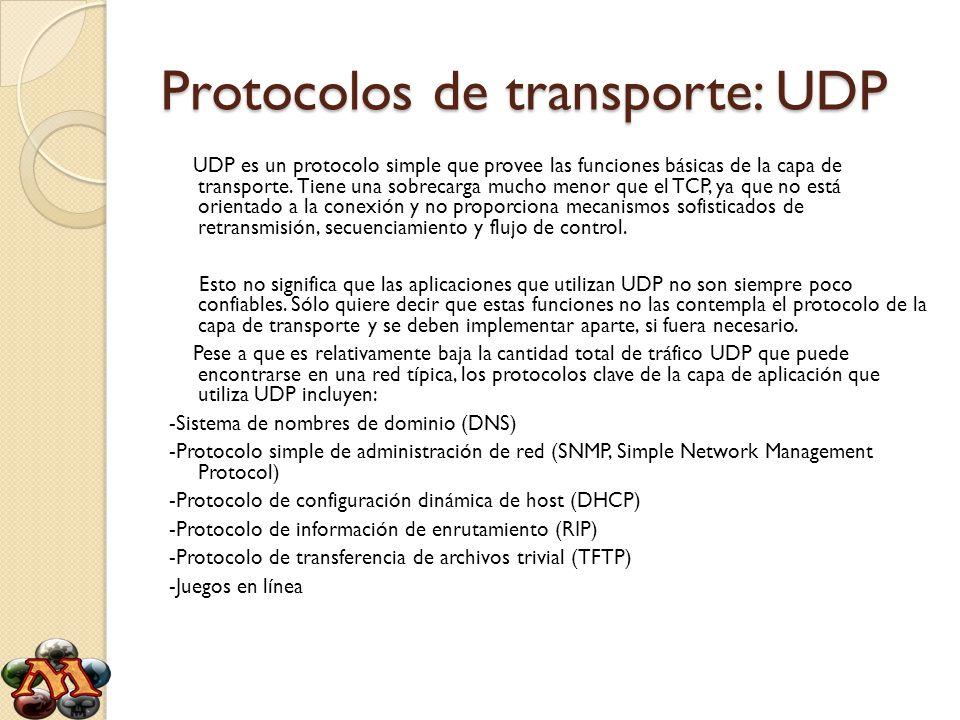 Protocolos de transporte: UDP UDP es un protocolo simple que provee las funciones básicas de la capa de transporte. Tiene una sobrecarga mucho menor q