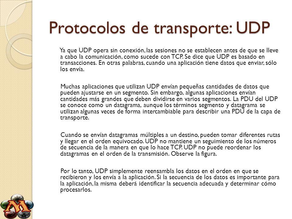 Protocolos de transporte: UDP Ya que UDP opera sin conexión, las sesiones no se establecen antes de que se lleve a cabo la comunicación, como sucede c