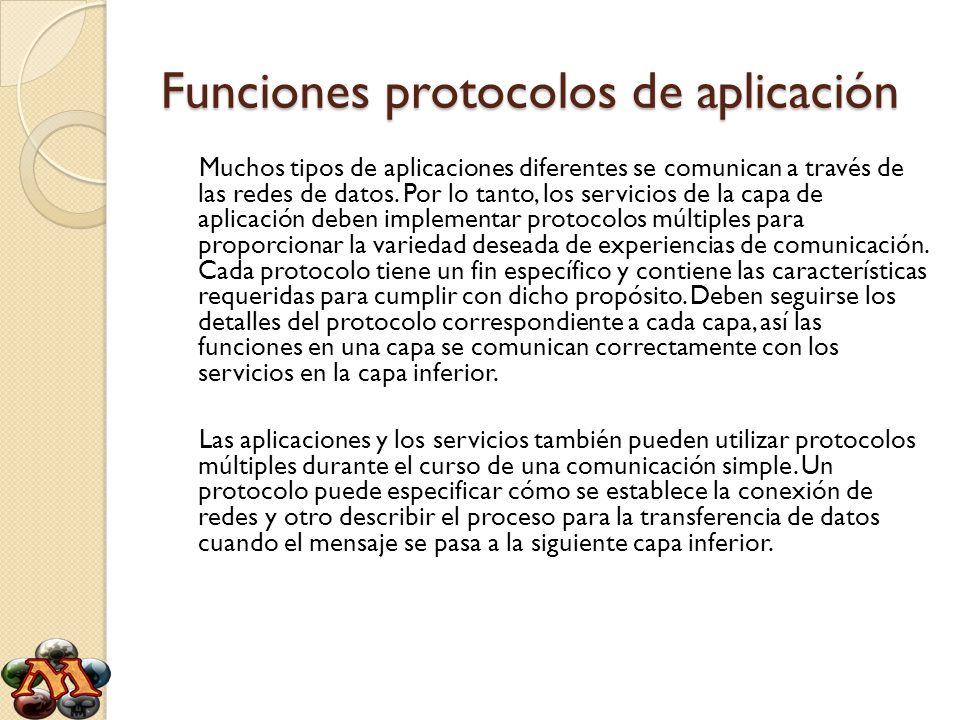 Funciones protocolos de aplicación Muchos tipos de aplicaciones diferentes se comunican a través de las redes de datos. Por lo tanto, los servicios de