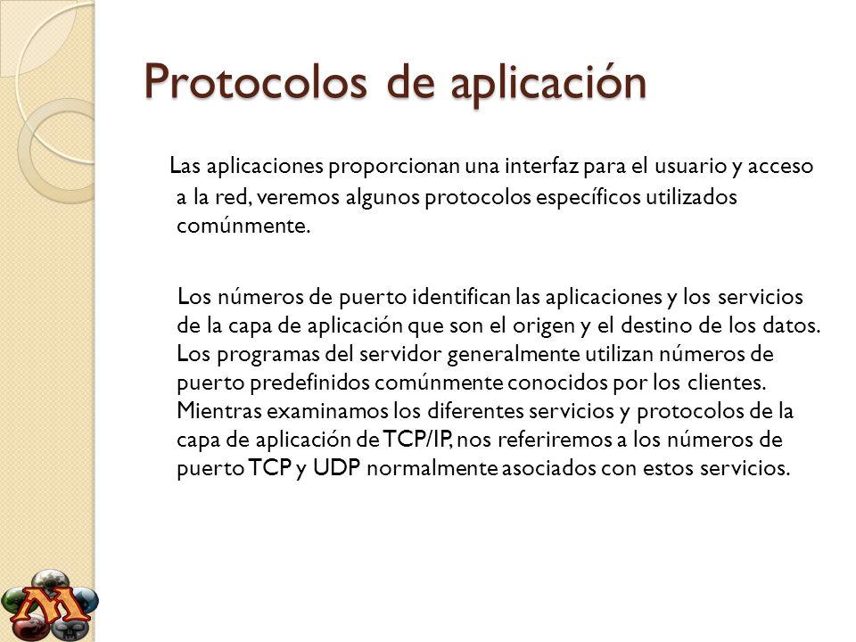 Protocolos de aplicación Algunos de estos servicios son: -Sistema de nombres de dominios (DNS) - TCP/UDP puerto 53 -Protocolo de transferencia de hipertexto (HTTP) - TCP puerto 80 -Protocolo simple de transferencia de correo (SMTP) - TCP puerto 25 -Protocolo de oficina de correos (POP) - TCP puerto 110 -Telnet - TCP puerto 23 -Protocolo de configuración dinámica de host - UDP puertos 67 y 68 -Protocolo de transferencia de archivos (FTP) - TCP puertos 20 y 21