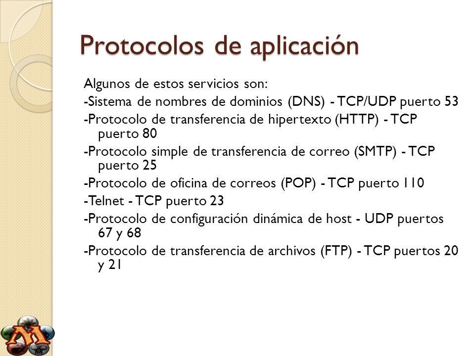 Protocolos de aplicación Algunos de estos servicios son: -Sistema de nombres de dominios (DNS) - TCP/UDP puerto 53 -Protocolo de transferencia de hipe