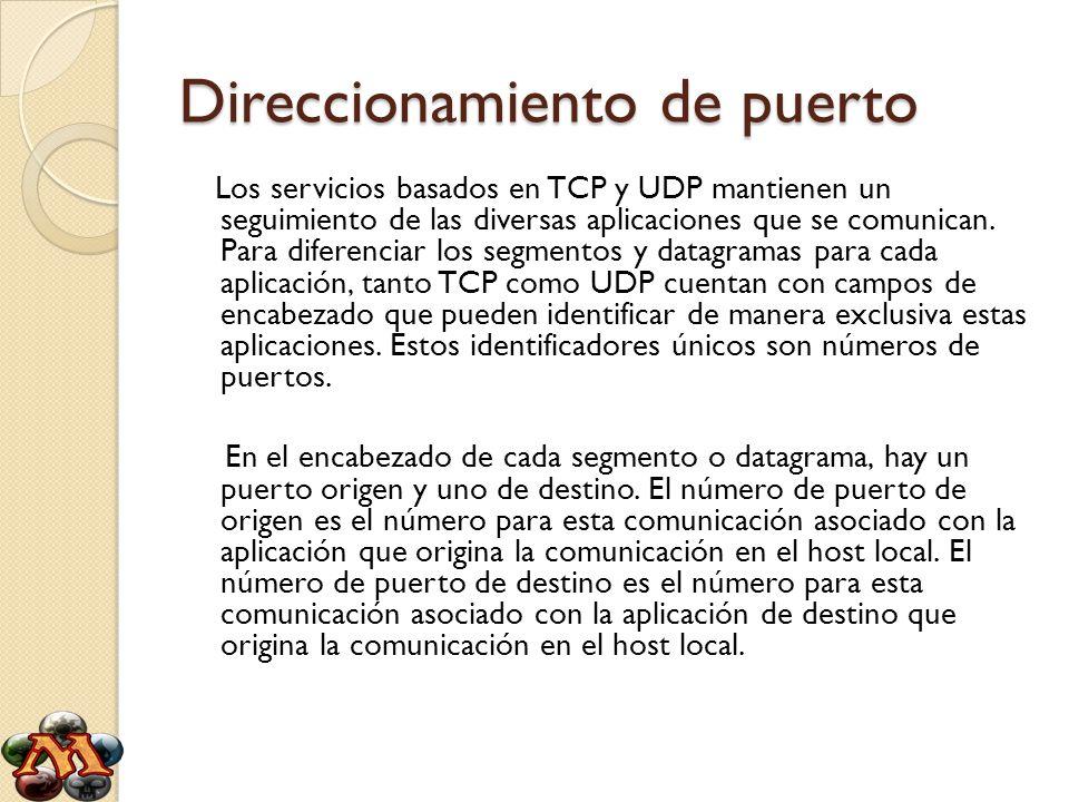 Direccionamiento de puerto Los servicios basados en TCP y UDP mantienen un seguimiento de las diversas aplicaciones que se comunican. Para diferenciar