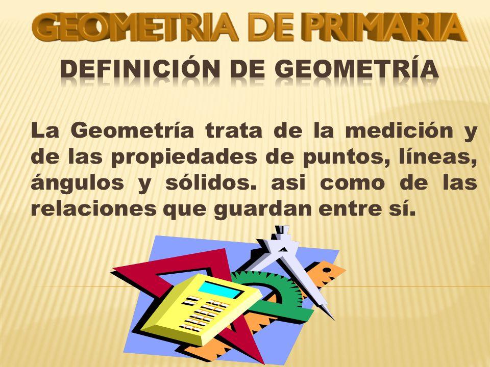 La Geometría trata de la medición y de las propiedades de puntos, líneas, ángulos y sólidos.