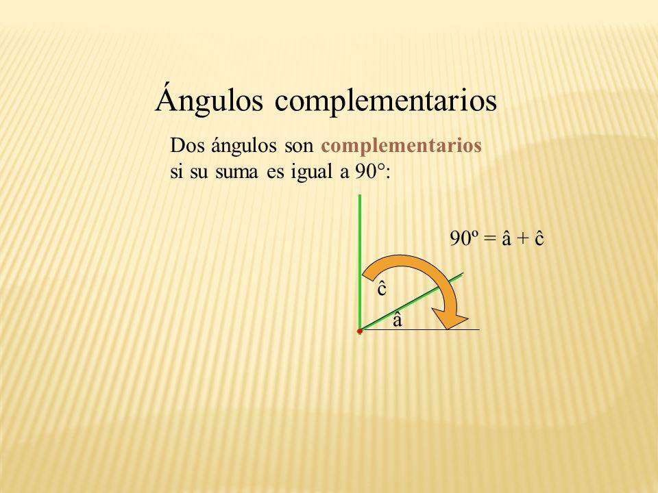 e Otros ángulos: Todo ángulo divide al plano en dos regiones. < 180º > 180º