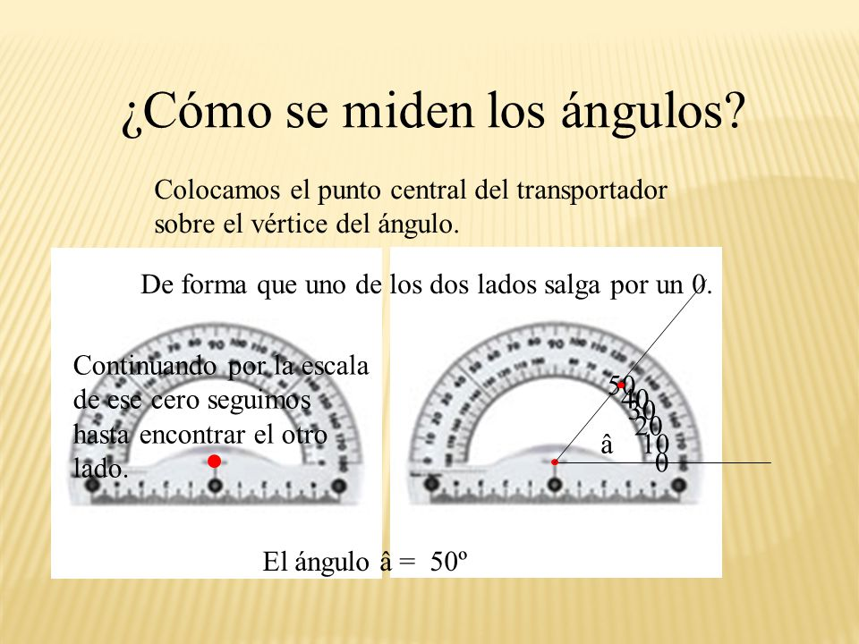 ¿Cómo se miden los ángulos? Necesitamos una herramienta: llamada transportador, que es un semicírculo graduado de 0º a 180º, generalmente tiene dos es